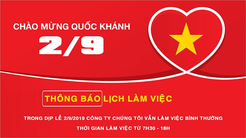 Thông báo lịch làm việc dịp lễ Quốc Khánh 2/9/2019